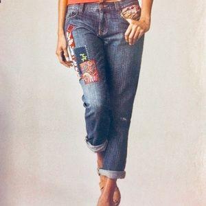 CAbi Patchwork Capri Jeans - Size 14